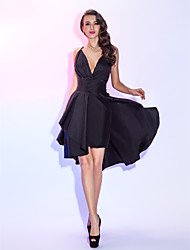 TS Couture® Cocktail Party / Homecoming / Holiday Dress - Short Plus Size / Petite A-line Spaghetti Straps Knee-length Taffeta with Criss Cross