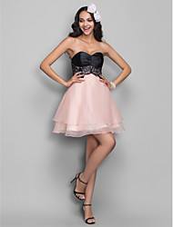 TS Couture® Cocktail Party / Homecoming / Holiday Dress - Short Plus Size / Petite A-line Sweetheart Short / Mini Organza / Stretch Satin