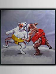 Борьба собаки Животное рамке Картина маслом