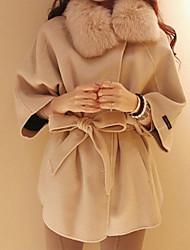 XXYL Fur Collar Waist Slimming Cape Coat(Cream)