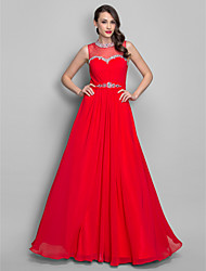 TS Couture Prom Formal Evening Military Ball Dress - Elegant A-line Princess Jewel Floor-length Chiffon withBeading Crystal Detailing