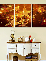 Stretched Canvas Print Art Christmas Star Set of 3