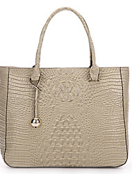 SCIDACA Elegant Noble Alligator Pattern Cow Leather Khaki Tote