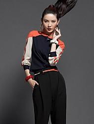 Femininos O estilo ocidental Carreira manga comprida Patchwork Shirt