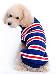 Dog Sweater / Clothes/Clothing Blue Winter Stripe