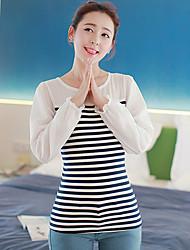 Collar YIHUASHA Ronda Moda modelo de las rayas de manga larga Bottom T-Shirt
