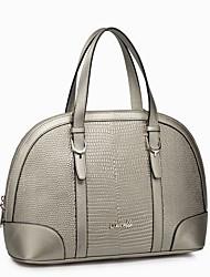 NUCELLE Women's Silver Cowhide Charming Crocodile Stripe Shell Bag