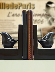 """6 """"Country Style Oiseau Noir Type Résines 1 paire Serre-livres"""