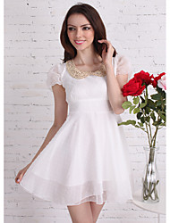 TS Peter Pan Collar Pleated/Sequins Dress , Polyester Above Knee Short Sleeve