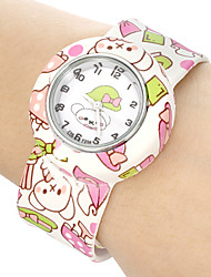 Children's Cartoon Bear Pattern Bendable Plastic Band Slap Watch Cool Watches Unique Watches Fashion Watch