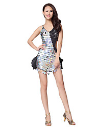 Dancewear Satin Latin Dance Dress With Sequins For Ladies