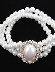 Elegante Perlen-Strang mit Strass Damen-Armband