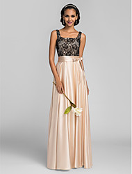 LAN TING BRIDE Floor-length Square Bridesmaid Dress - Color Block Sleeveless Charmeuse