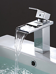 Contemporary Stainless Steel Waterfall Bathroom Sink Faucet