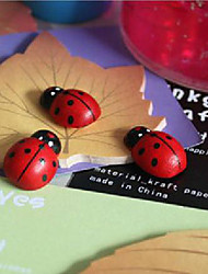 Cartoon Beetle Sponge Stickers Fridge Magnet Ladybug Wooden Handicrafts - Set of 5