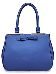 8th PINK Women's Cowhide Blue Dull Polish Bowknot Handbag