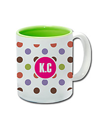 Personalized Dot Pattern Green Mugs