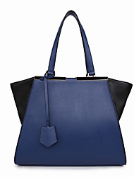 8th PINK Women's Cowhide Blue Ol Style Color Contrast Dumpling Shape Handbag