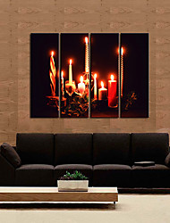 Stretched Canvas Print Art Candles of Christmas Eve Set of 4