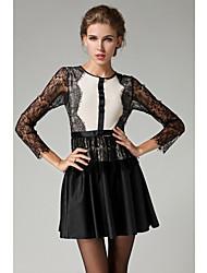 SIPAIYA Women's Gorgeous Lace Splicing Long Sleeve Dress(Black)