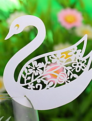 Place Cards and Holders Hollow-out  Wine Cup Card-Swan(Set of 10 Pieces)