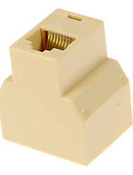 RJ45 Female to 2 Female Adapter Beige