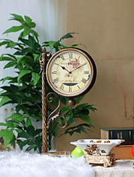 """20.75""""Floral Spray Style Brass Color Double Dial Metal Tabletop Clock"""