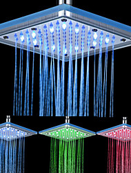 Chrome Finish Rectangular 3 Colors LED Shower Head