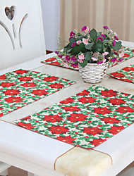 """Christmas Floral Polyester Placemats, Set of 6, 12""""*18"""" 1pc"""