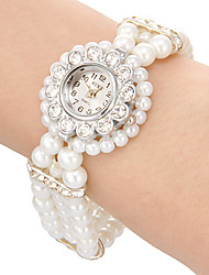Women's Watch Flower Style Case Pearl Band Bracelet Watch Cool Watches Unique Watches