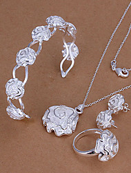 Sweet Silver Plated (Necklace & Bangle & Earrings & Ring) Jewelry Set (Silver) (buy 1 get 2 free gifts)