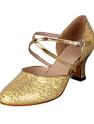 Customized Stylish Women's Leatherette With Sparkling Glitter Upper Modern Dance Shoes(More Colors)