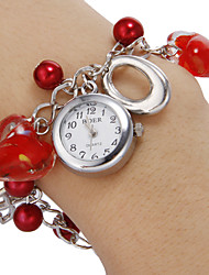 Women's White Dial Red Heart Pattern Beads Band Quartz Analog Bracelet Watch Cool Watches Unique Watches