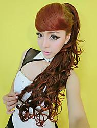 100% Kanekalon Wine Red Full Bang & Curly Long Ponytail Wig Extension