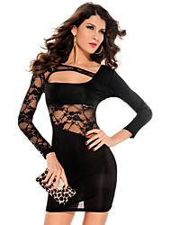 Darling Clothes Women's Black Long Sleeve Lace Sexy Fit Dress