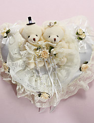 Ring Pillow In White Satin With Lovely Bears And Laces