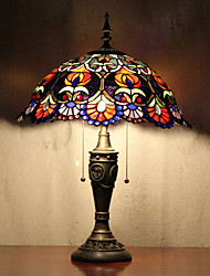Flower Pattern Table Lamp, 2 Light, Tiffany Resin Glass Painting
