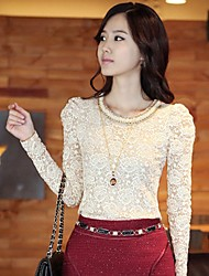 Frauen Crochet Lace Scoop Neck Bluse