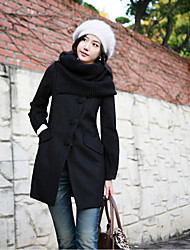 Women's Coat,Solid Long Sleeve Winter Pink / Black Wool Thick