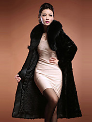 Long Sleeve Turndown Faux Fur Party/Casual Coat