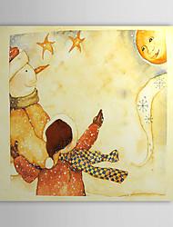 Vacances cadeau de Noël Peinture à l'huile prêt à accrocher enfants et bonhomme de neige prêt à accrocher
