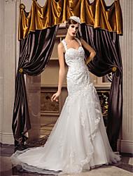 Lanting sposa cinghie treno tromba / sirena abito da sposa-court tulle