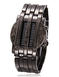 Unisex Blue LED Digital Black Steel Wrist Watch