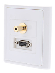 VGA/3.5mm Stereo Audio Wall Plate (Gold Plated)