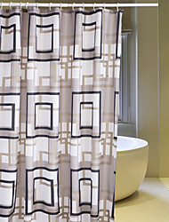 "Shower Curtain Polyester Gray Diamonds Print Thick Fabric Water-Resistant W71"" x L71"""