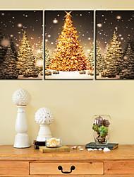 Stampa trasferimenti su tela Arte Dorato albero di Natale Set di 3