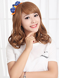 Capless Medium High Quality Synthetic Golden Blonde Wavy Hair Wig Side Bang