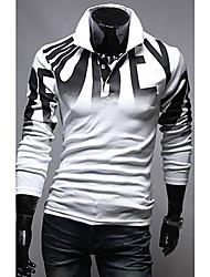 rubb Männer schlanke Druckbuchstaben Langarm-Polo-Shirts