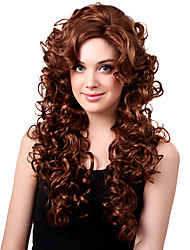Capless Long High Quality Synthetic Medium Copper Red Curly Hair Wigs Side Bang