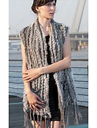 Fur Vest With Sleeveless Collarless Rabbit Fur Office/Casual Vest